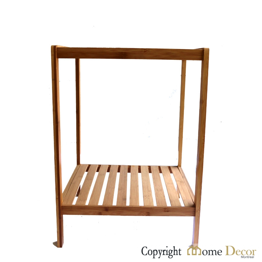 2 Tier Square Bamboo Side Table